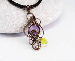 Amethyst wire wrapped pendant with leaf by IanirasArtifacts