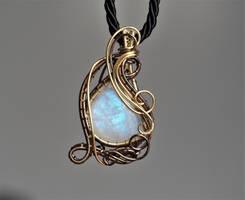 Rainbow moonstone wire wrapped pendant