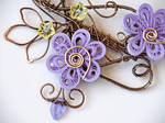 Wire wrapped necklace with quilling paper flowers