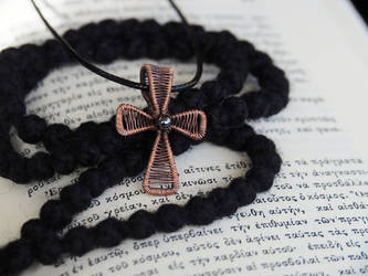 Antiqued copper wire wrapped cross by IanirasArtifacts