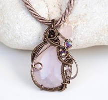 Rose Quartz wire wrapped pendant with pink leaf