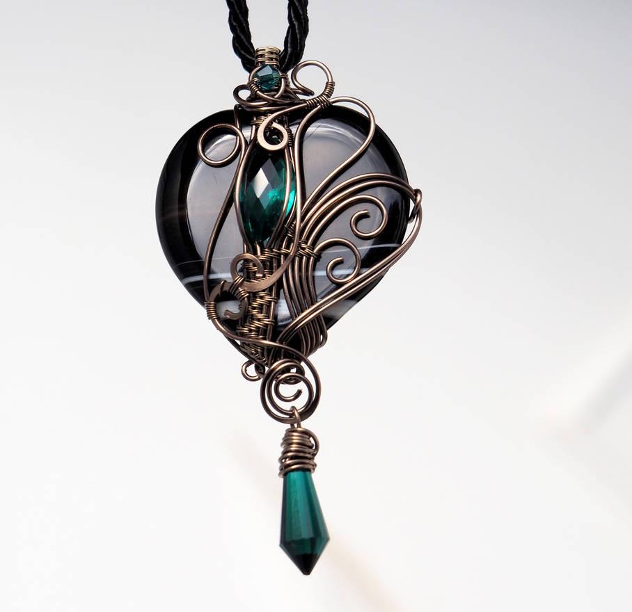 Black heart pendant with emerald green drops