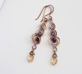 Long copper wire swirl earrings
