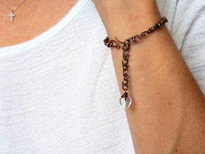 Antiqued copper chain bracelet with leaf