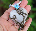 Rose Quartz heart pendant with flower