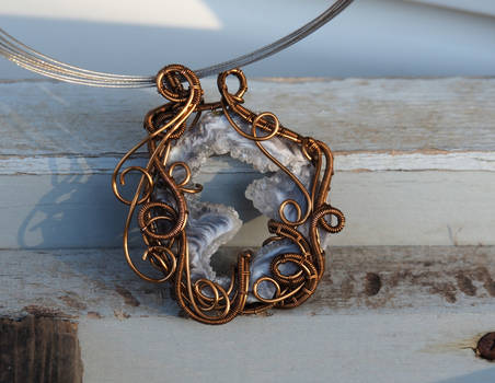 Wire wrapped agate slice pendant