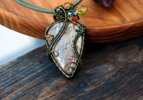 Crazy Lace Agate wire wrapped in green