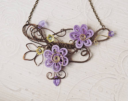 Wire wrapped bib necklace with paper flowers