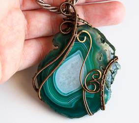 Emerald green Agate stone pendant