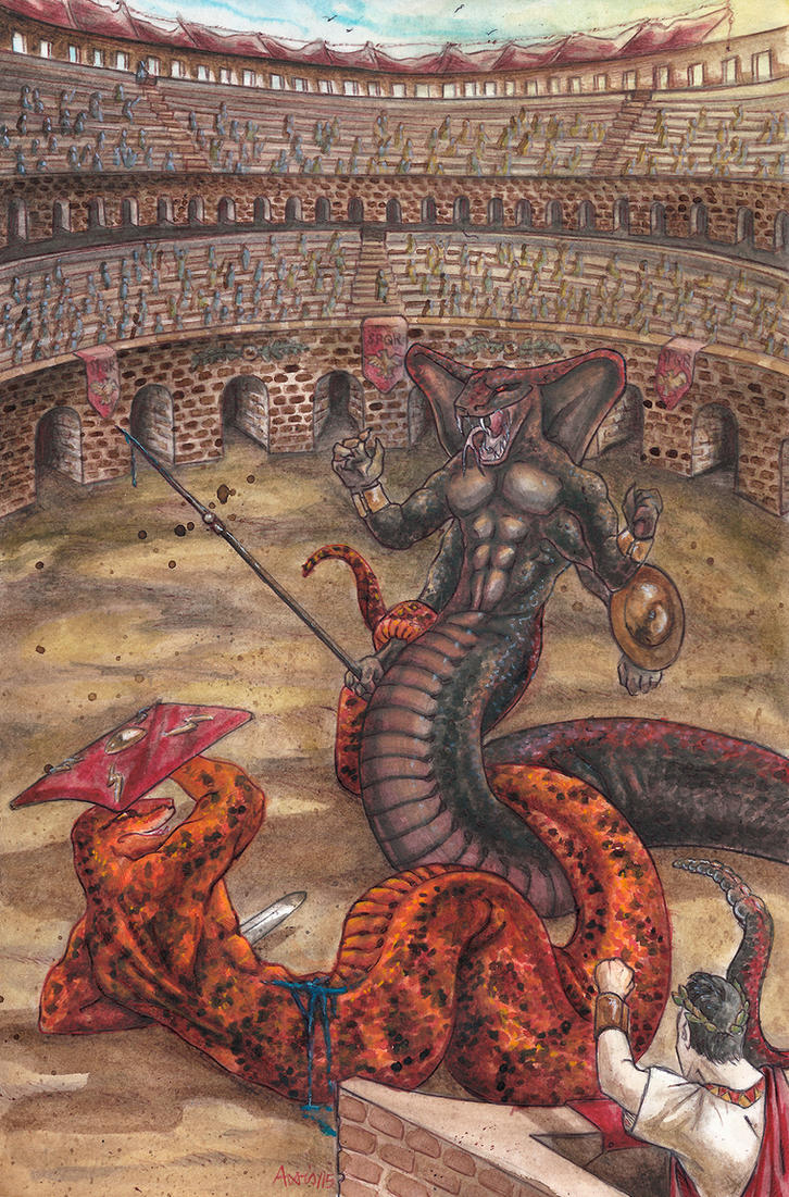 Snakes in the arena colored version by balorkin