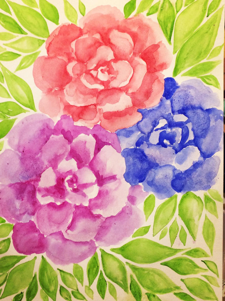 Flowery Watercolors by oxVictoriquexo