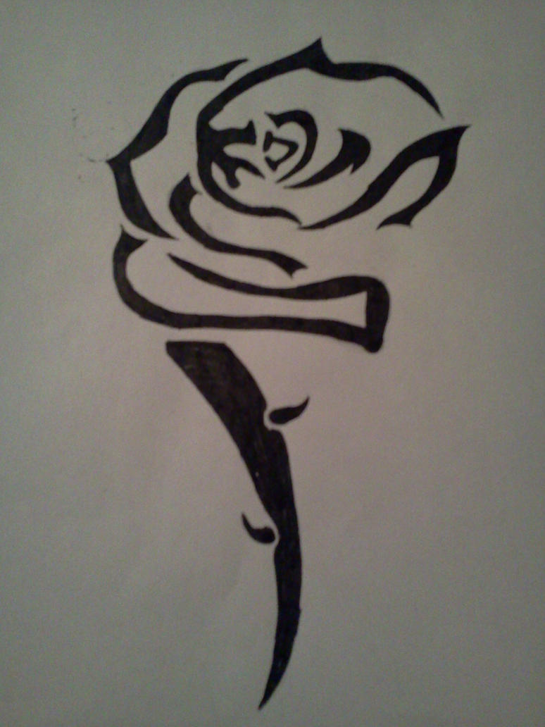 Tribal rose tattoo design by alphas female on deviantart for Tribal rose tattoo designs