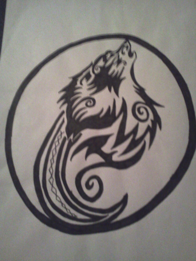 tribal wolf in circle tattoo design by alphas female on deviantart. Black Bedroom Furniture Sets. Home Design Ideas