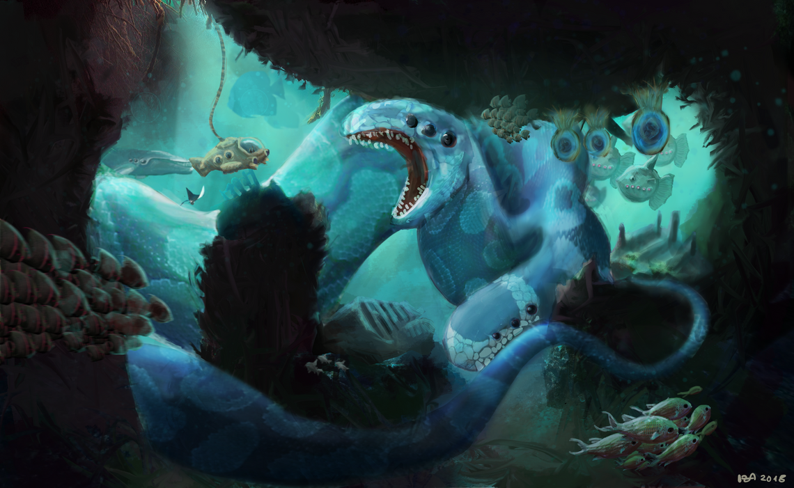Two-headed sea serpent by nosycatus
