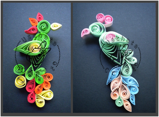 Parrots - quilling by Eti-chan