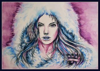 Angelina Jolie as Snow Queen by garfildus