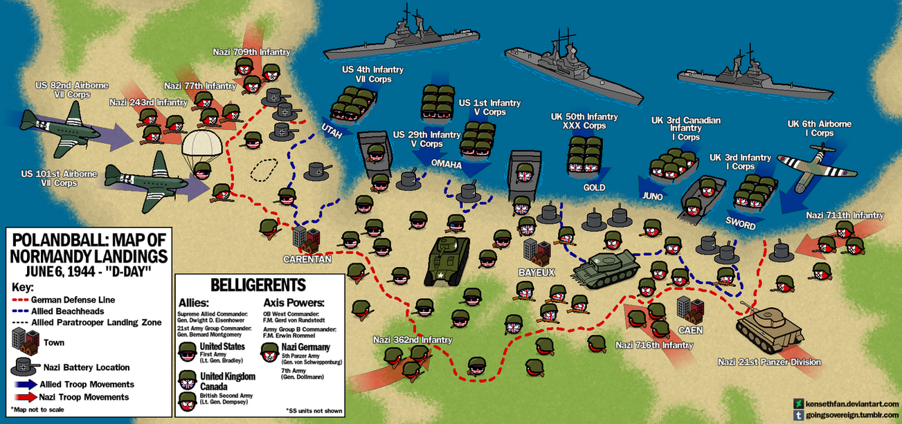 Polandball Map of D-Day Landings by kensethfan on DeviantArt