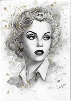 Marilyn Monroe golden watercolor