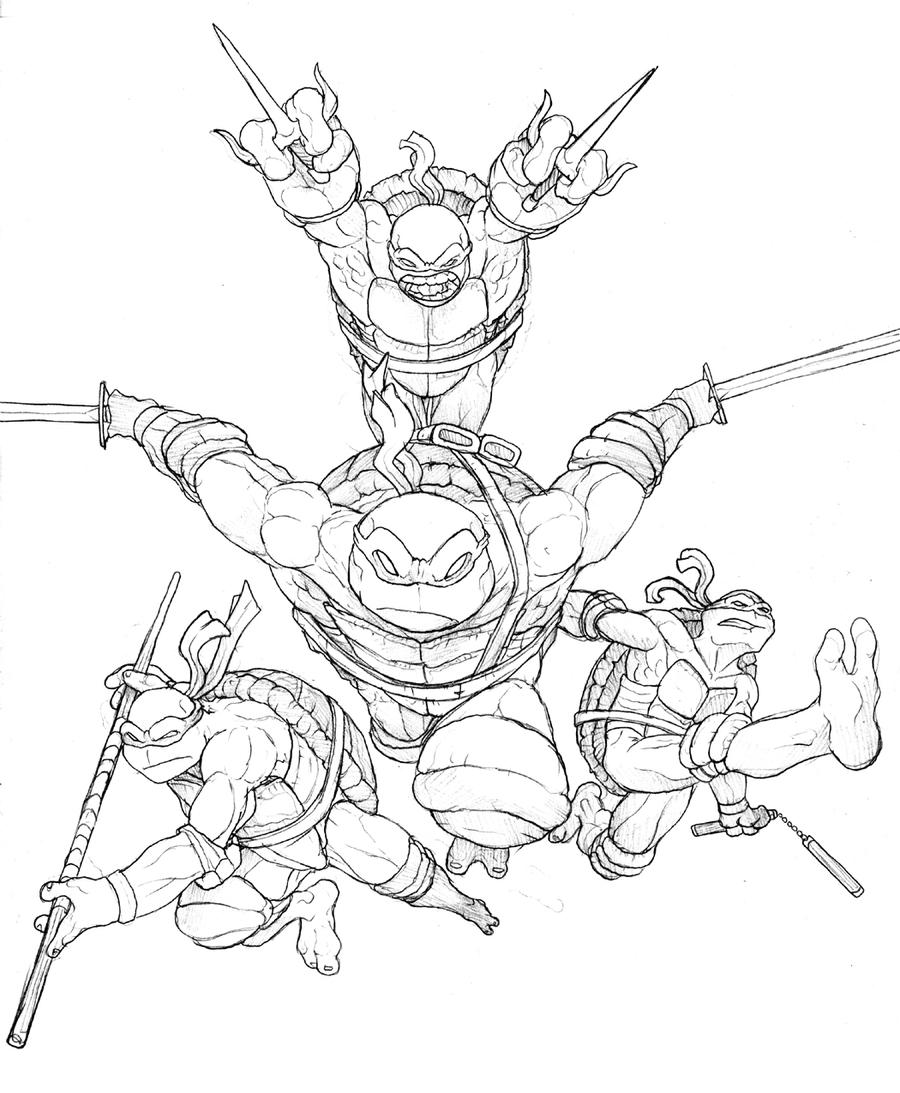 tmnt sketch commission by murderousautomaton on deviantart