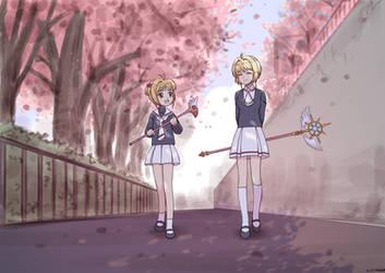 Patreon: Sakura and Sakura (Colored...) by wave-lens
