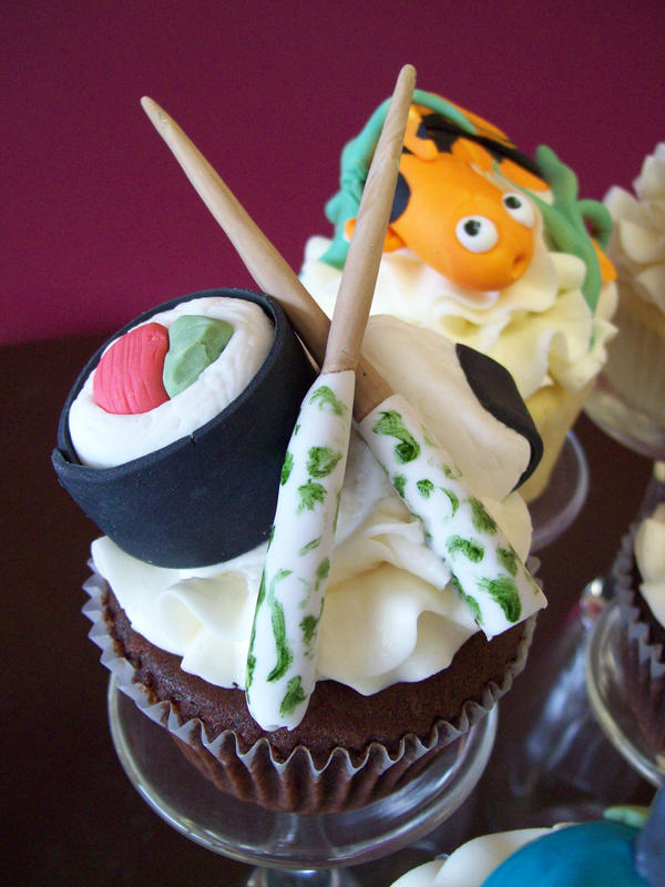 Sushi cupcake by see-through-silence