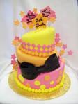 Topst turvy baby shower cake