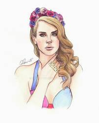 Lana Del Rey Watercolor Illustration
