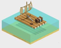 BOTW sail isometric pixelart (the legend of zelda) by wanderer-kitty