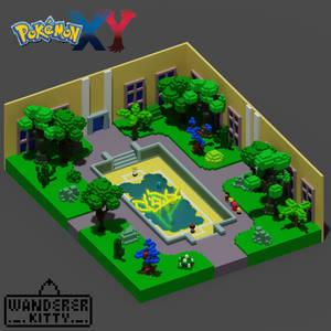 Pokemon XY First GYM Fight Scene Isometric lowpoly