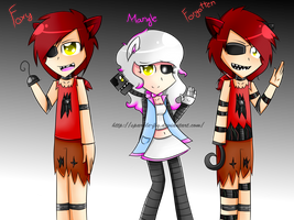 Five Nigths at Freddy's: Human Foxy and Mangle by sparkle-fly
