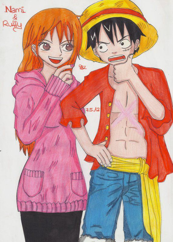 Nami Luffy One Piece New World by Lucy-chan90
