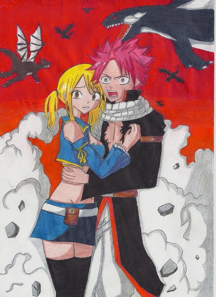 Lucy Natsu Fairy Tail Dragons by Lucy-chan90
