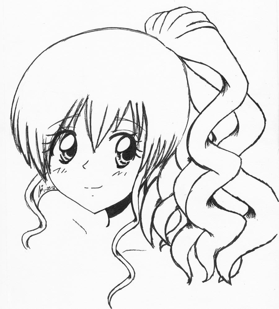 Anime Girl with Curly Hair by ariibabee on DeviantArt