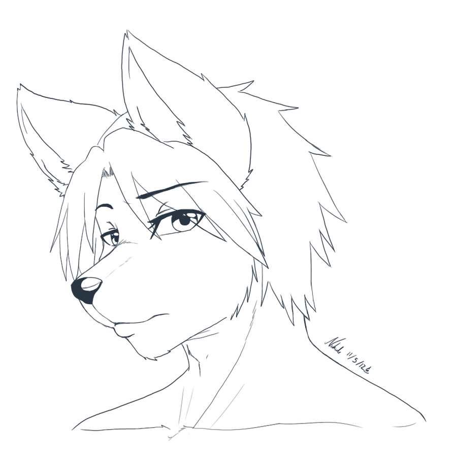 Lineart Wolf Tattoo : Line art wolf guy by nukude on deviantart