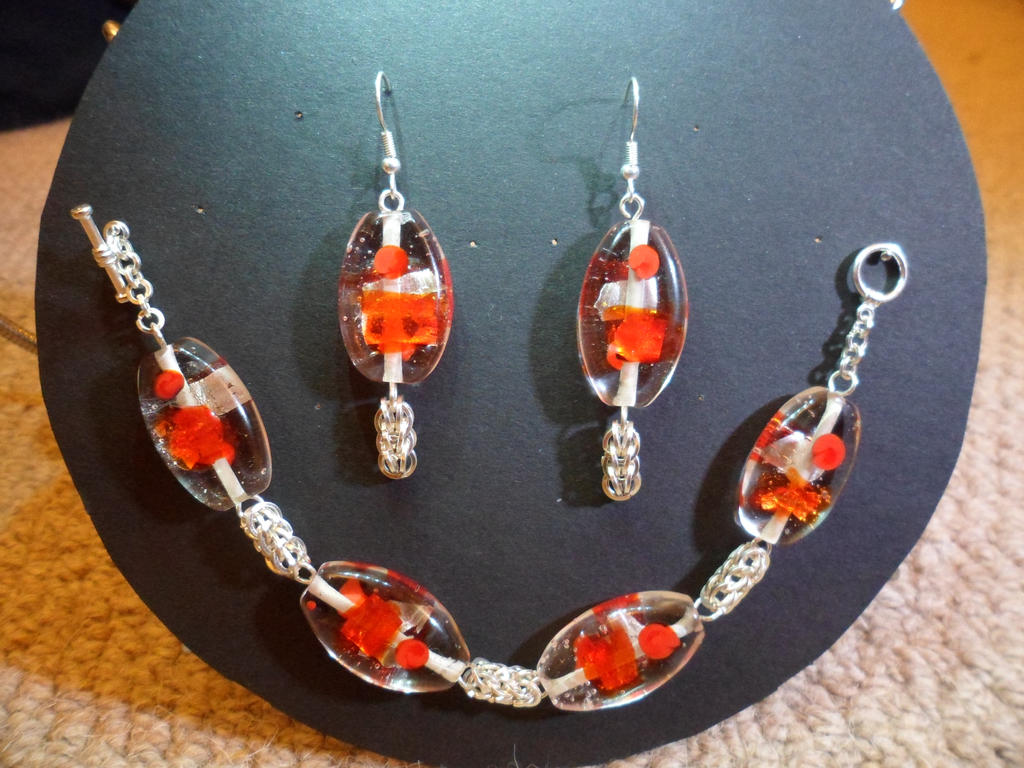 'Goldfish Bowl' Bracelet and Earrings by DamonWakes