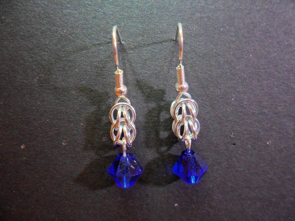 Blue Bicone Earrings by DamonWakes