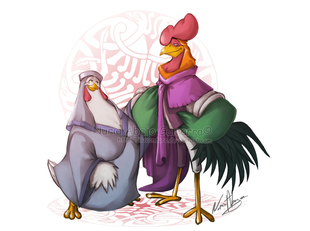 Lady Kluck and Alan a Dale - disney by Iluvendure