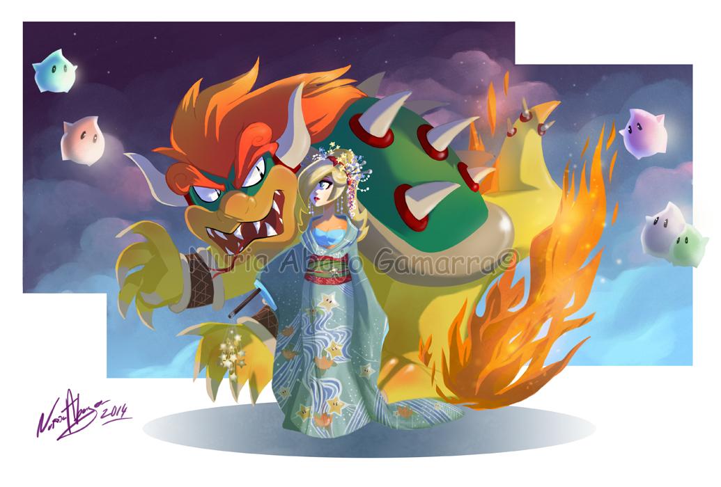 Super Mario Bros- Galaxy Geisha Rosalina by nuriaabajo