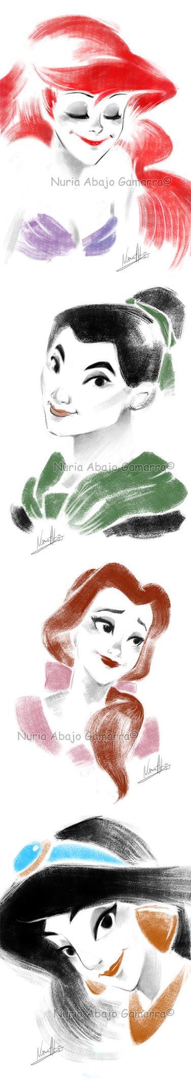 Disney Heroines by nuriaabajo