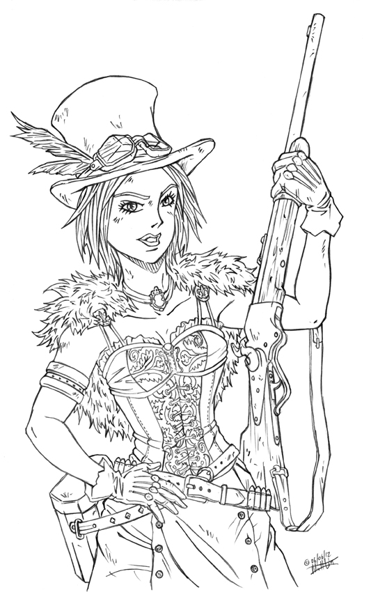 Best Line Drawing Artists : Steampunk top hat line art by thevampos on deviantart