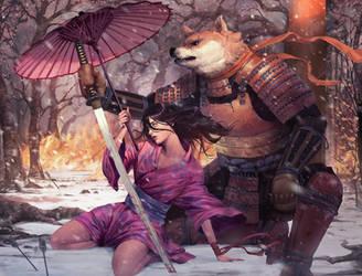 The dog and the blind girl by lorenzbasuki