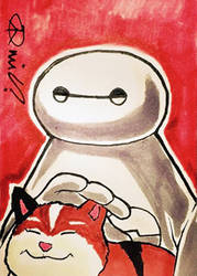 Commission: Drunkflated Baymax and Mochi