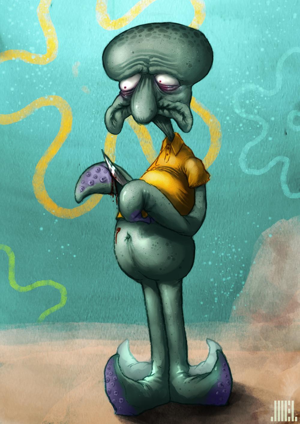 emo squidward has feelings too by joelamatguell on deviantart