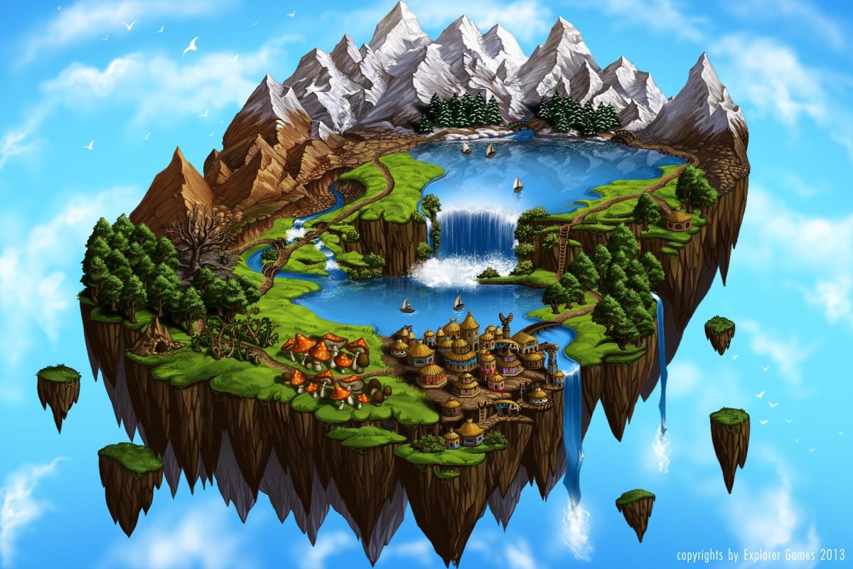 Flying Island Fantasy Map