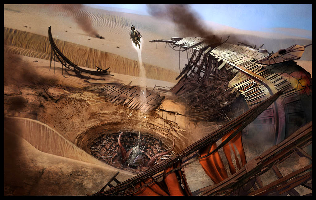 Boba Fett flying out of the mouth of the Sarlacc pit on
