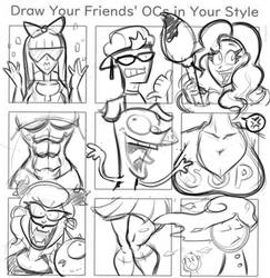 Draw Friends' OCs (Sketch) by hooksnfangs