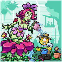 Watering Plant and Friend