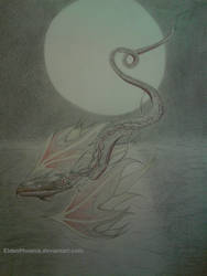 Dragon over the sea with the moon behind it?