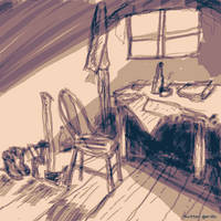 quiet place in the weather station - sketch
