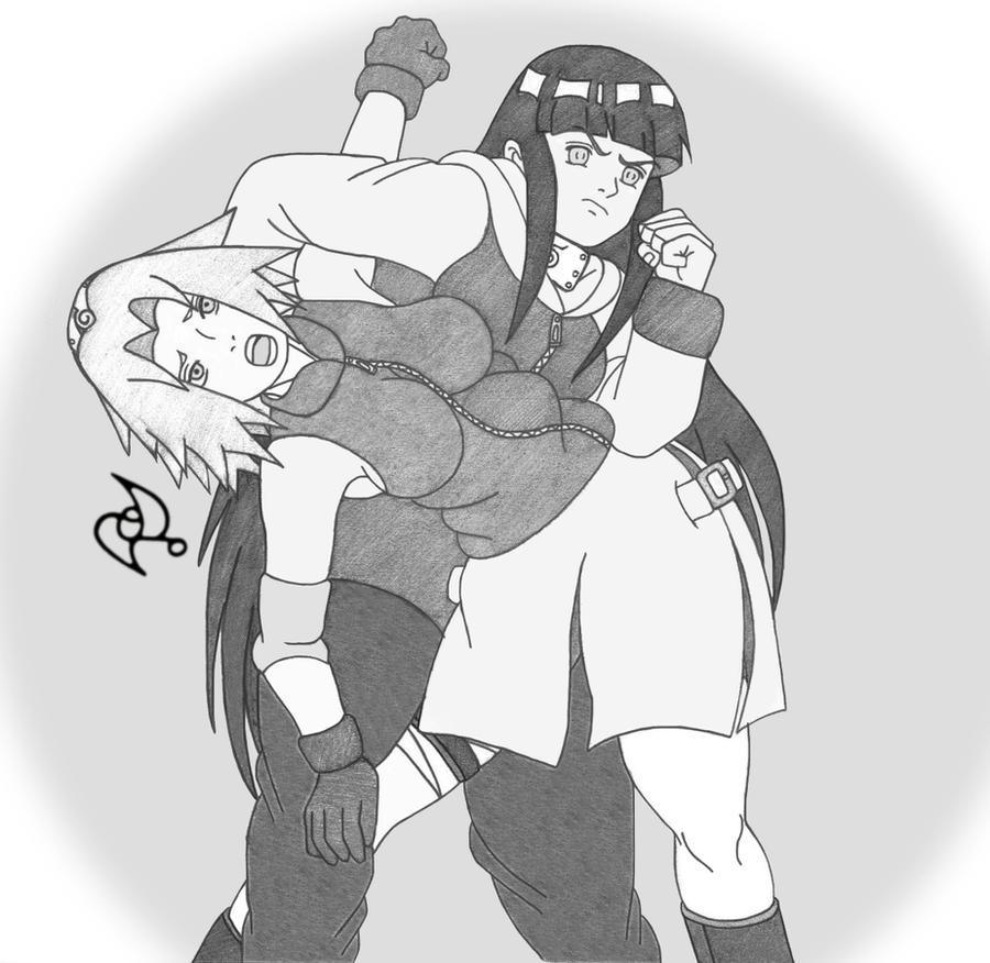 Hinata vs Sakura Abdominal Stretch by omar-sin